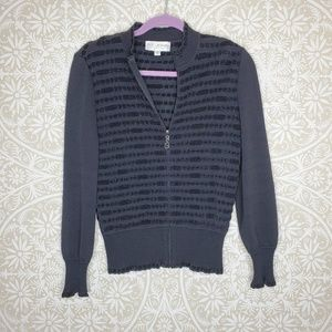 *flaw* ST. JOHN Zip Cardigan Black Sweater 2